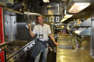 In the stainless steel operational kitchen.