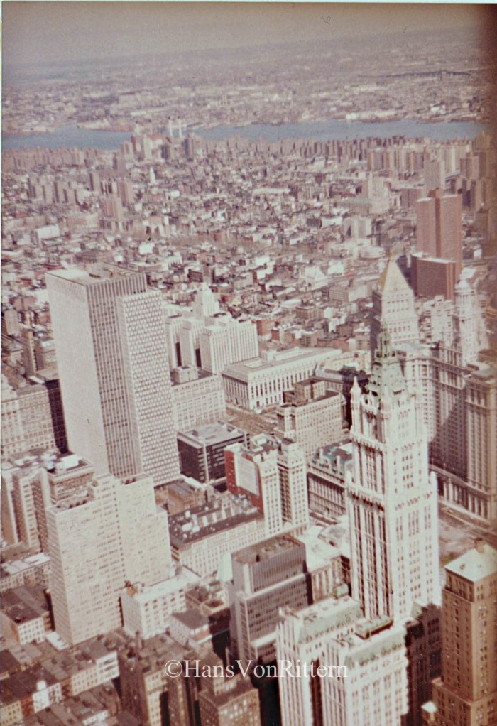 Northeast view from the original World Trade Center Tower. Woolworth Tower below.