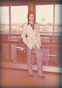 1974 Off to London wearing my Jumping Jacket Flash shoes (covered by the bell bottoms.)
