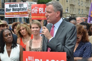 Mrs. DeBlasio, Cynthia Nixon, our next mayor Bill DeBlasio and Susan Sarandon.