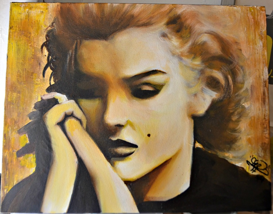 What is so haunting about it, is that it is not 'wet lip Marilyn', or 'skirt blowing Marilyn'. It beautifully sad reflective 1962 Marilyn portrayed as a human being - not symbol. Notice the painting goes from light (right side) to the dark side (on the left).