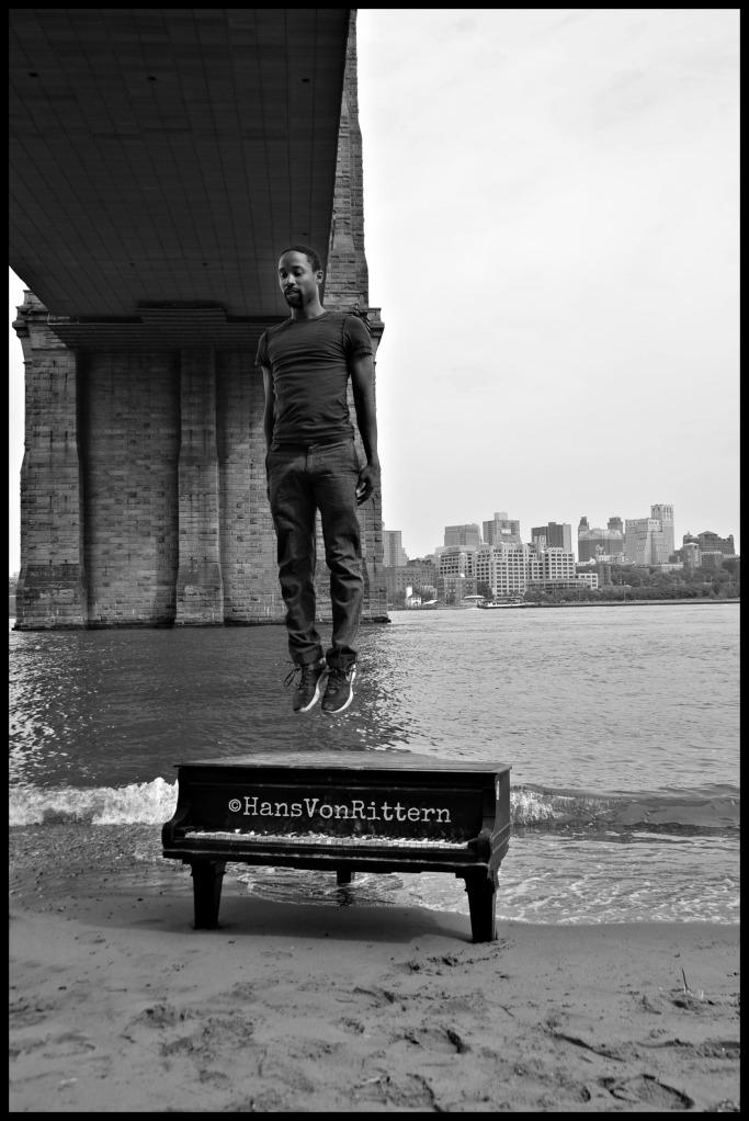 Mason and Hamlin piano in East River under Brooklyn Bridge